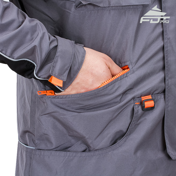 FDT Professional Dog Tracking Jacket with Side Pockets for All Weather Use