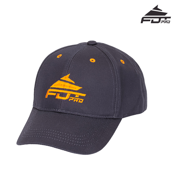 One-size Cap Dark Grey Color with Orange Logo for Dog Training
